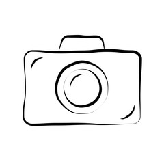 Photo camera doodle icon. Retro hand drawing sketch sign. Cartoon design element. Black outline isolated on white background. Symbol of photography, film. Equipment for photograph. Vector illustration