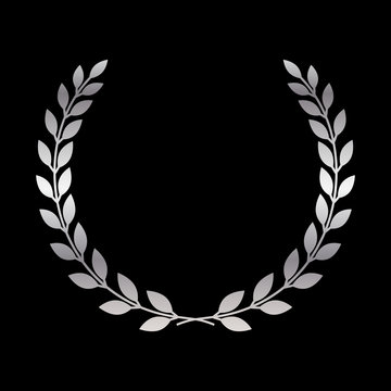 Silver laurel wreath icon. Symbol award, trophy, victory, winner, prize. Branch olive sign. Design element for decoration medal, coat of arms logo. Leaf silhouette black background Vector illustration