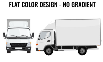 Vector small truck front side. Cargo delivery. Flat color