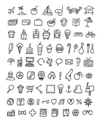 Doodle Icons Universal Set. Vector illustration. Isolated on a white background.