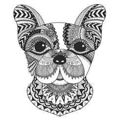French bulldog zentangle styled with clean lines for coloring book for anti stress, T - shirt design, tattoo and other decorations