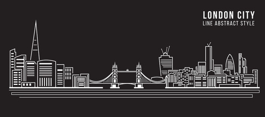 Cityscape Building Line art Vector Illustration design - London city