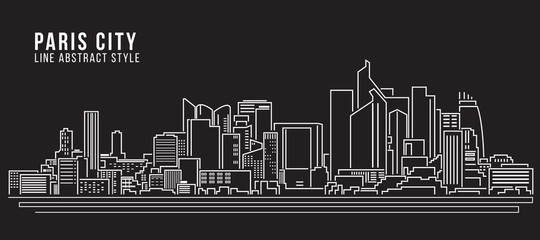 Cityscape Building Line art Vector Illustration design - Paris city