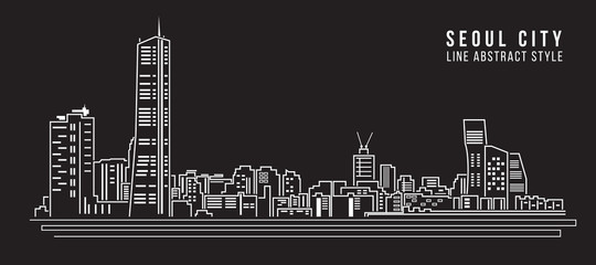 Cityscape Building Line art Vector Illustration design - Perth City