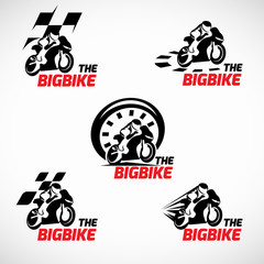Black and red The bigbike logo vector design