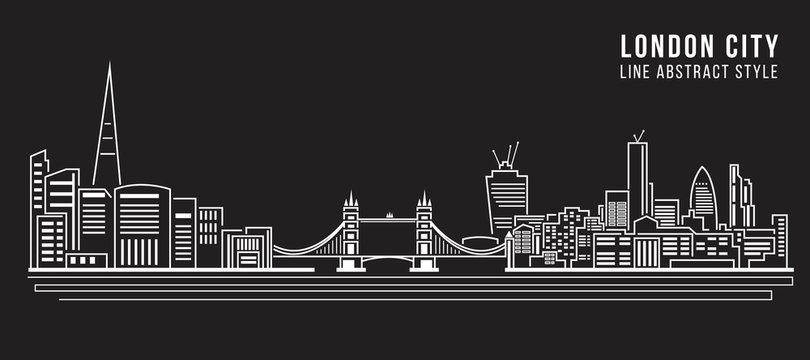 Cityscape Building Line art Vector Illustration design - London city