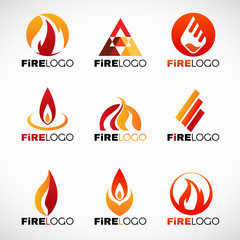 Red orange and yellow Fire logo vector set design