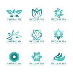 Flower and leaf logo vector set design for Beauty spa salon or hotel