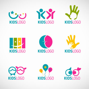 Kids logo vector set design
