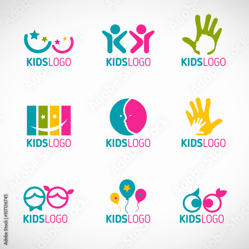 quotkids logo vector set designquot stock image and royaltyfree