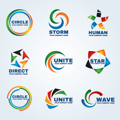 Circle logo storm logo human logo Direct logo Unite logo Star logo and Wave logo vector art design for business