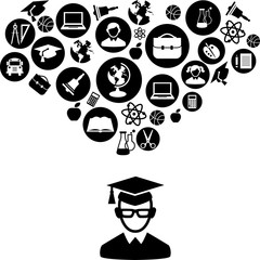 Education concept with education icons in flat black white style