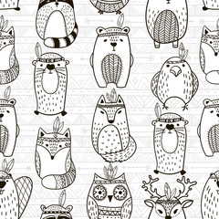 Seamless pattern with tribal animals - Illustration