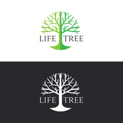 Life tree logo circle vector design - green tree tone on white background and white tree on dark grey backgroundon dark grey background