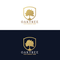 Gold and dark blue Oak tree logo vector design