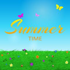 Summer background with text, grass, flowers, butterflies , beetl