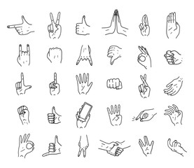 Hands. Icons. Gestures. Hand drawn vector illustration. Isolated. Doodle.