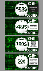 Set of modern gift voucher templates. Virtual reality, abstract technology background with green symbols, vector illustration