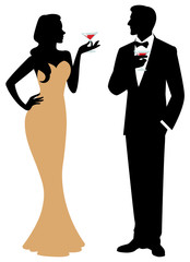 Silhouette of man and woman standing in full length holding a co