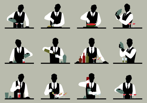 Set of silhouettes of a bartender prepares cocktails Stock vecto