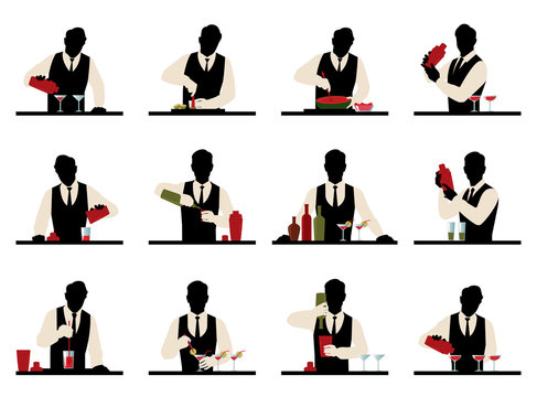 Set of silhouettes of a bartender prepares cocktails vector stoc