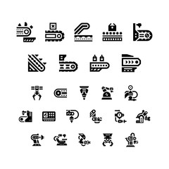 Set icons of conveyor and robotic industry
