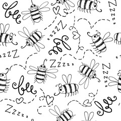 Black and white seamless background with bees.
