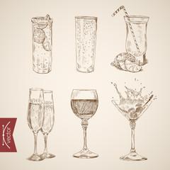 Cocktail lemonade wine alcohol glasses engraving vector vintage
