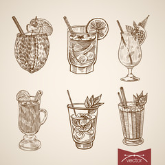 Cocktail exotic beverage alcohol glasses engraving vector retro