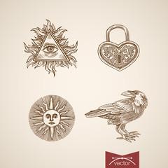 All-seeing eye God wind rose sun Heart engraving vintage vector