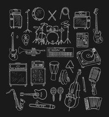 Set of Music Instruments. Hand drawn illustration in doodle style.Isolated