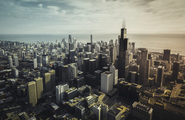Chicago Skyline aerial view with downtown skyscrapers