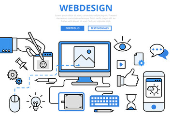 Webdesign website design GUI concept flat line art vector icons