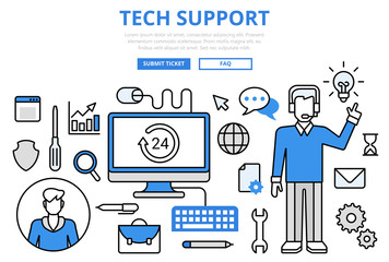 Customer technical support concept flat line art vector icons