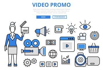 Video promo digital marketing concept flat line art vector icons