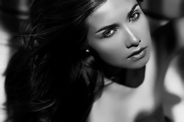 Portrait of sexy woman, bw