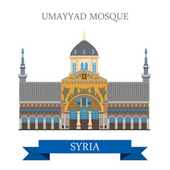 Umayyad Mosque in Damascus Syria vector flat attraction travel