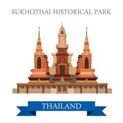 Sukhothai Historical Park in Thailand vector flat attraction