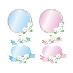 花のフレーム ブルー ピンク