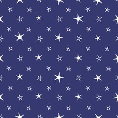Seamless blue and white stars moon baby night background