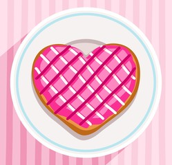 Donut-heart on a plate, coloured picture.