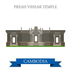 Preah Vihear Hindu Temple in Cambodia vector flat attraction