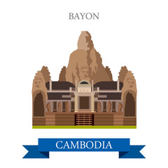 Bayon Khmer temple in Angkor Cambodia vector flat attraction