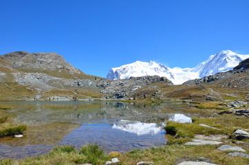 Foto op Aluminium Reflectie Alpine summer scene showing reflections of glacier peak