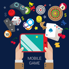 Mobile gamble online casino game play flat web gambling concept
