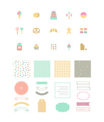 Set of dessert icons, seamless patterns and decor elements.