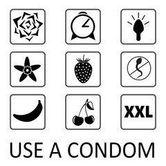 Set of condom icons.