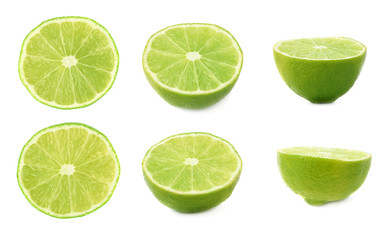 Set of ripe lime cuts in half isolated over the white background, three different foreshortenings