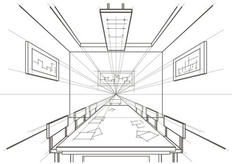 linear architectural sketch interior conference room