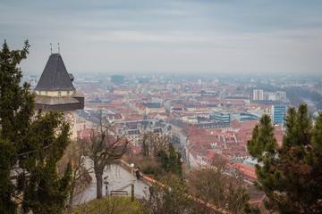 Graz, Austria - February 28, 2016. Graz city view from the hill in the center.